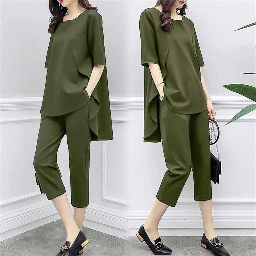 2 Piece Set Women Casual tops+pants  3