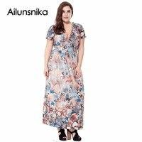 Ailunsnika V Neck Puff Sleeve Bohemian Maxi Dress 2017 Summer Women Butterfly Printed Long Chiffon Beach