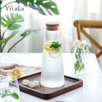 Yilala Frosted glass water bottle with cork high temperature resistant large capacity teapot explosion proof jug
