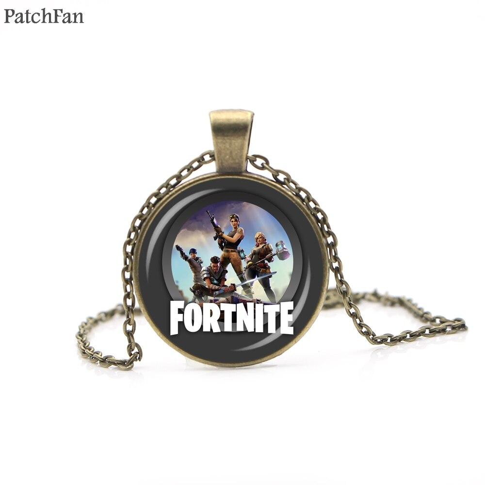 A0506 Patchfan Hot FPS Game Fortnite Battle Royale Necklace Time Gem Pendant necklace for women men couple party favors gifts