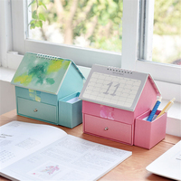 1Pcs 2018 Cute Calendar Table Big House Desk Multifunction Sticky Notes Calendar Desktop Storage Box School