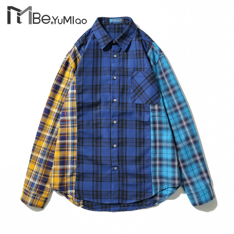 Special Section Be Yumiao Hip Hop Plaid Shirts Mens Long Sleeve Dress Jacket Shirt Blue Checkered Casual Cotton Flannel Shirt Streetwear Shirts