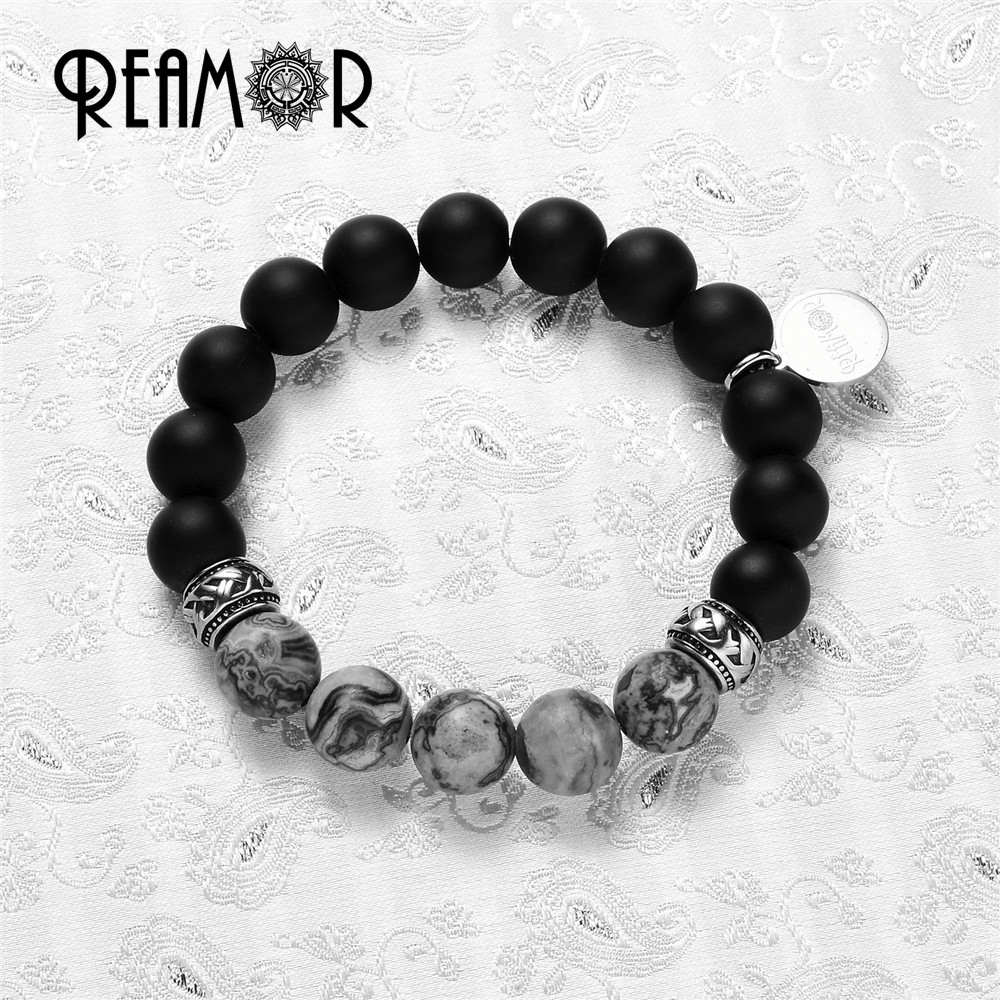 REAMOR Mix Match Natural Gray Map Stone with 10mm Black Matte Onyx Beads Yoga style Elastic Rope Bead Bracelets Women Jewelry