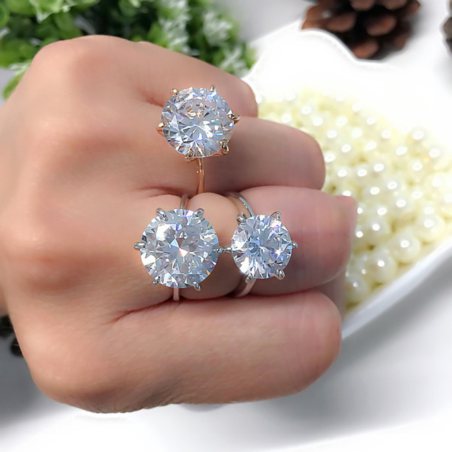 MOONROCY Silver Cubic Zirconia Crystal Promise Wedding Rings for Women 5 Carat B