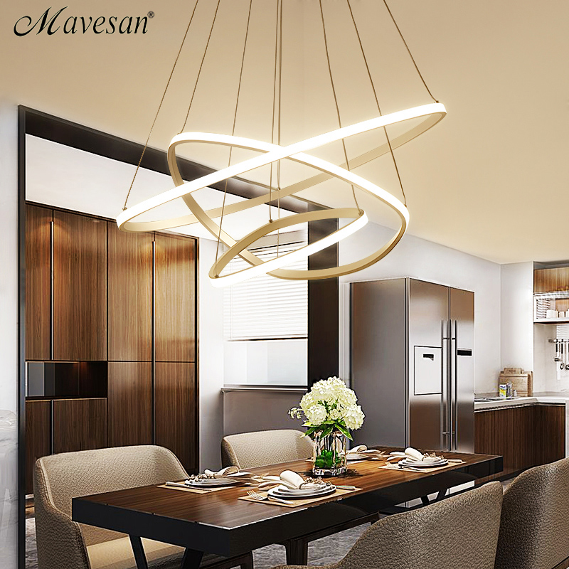 Mavesan New Modern pendant lights for living room dining room 3/2 Circle Rings acrylic LED Lighting ceiling Lamp fixtures