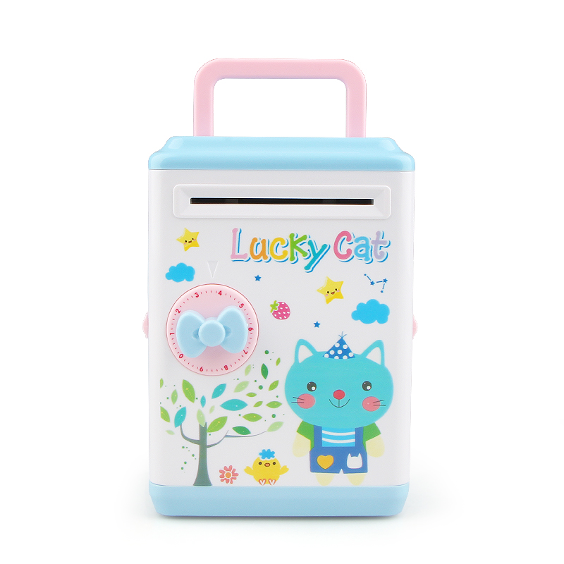 Intelligent Mini Code Safe Box ATM Money Bank Cash Coin Saving Lock Banknote Inspection Currency Detector Kid Children Gift