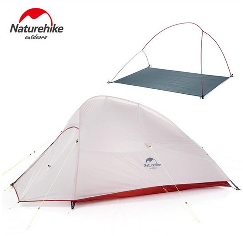 Naturehike Outdoor 2 Person Camping Tent 20D Nylon Silicone Ultralight Tent With Mat For Couple Hiking Trip Cloud Up 2 Update high quality outdoor 2 person camping tent double layer aluminum rod ultralight tent with snow skirt oneroad windsnow 2 plus