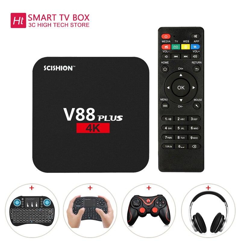 SCISHION V88 Plus TV Box Rockchip 3229 Quad-Core Android WiFi H.265 VP9 4K Android 5.1 2GB+8GB 3D Games Smart Media Player