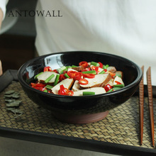 ANTOWALL Retro Japanese black dense points reaction glazed bowl restaurant ceramic soup bowl home noodle dish bowl