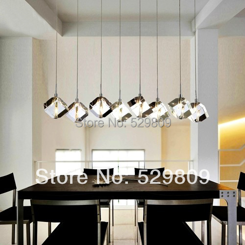 Brief 110 240V G4 LED Lamp For Dining Room 8 Lights Crystal Cube Light  Fixture Modern Lustres E Pendentes Home Lighting
