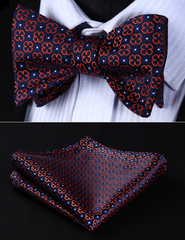 Classic  BF606VS Navy Blue Orange Floral Bowtie Men Silk Self Bow Tie Handkerchief Set Pocket Square Wedding