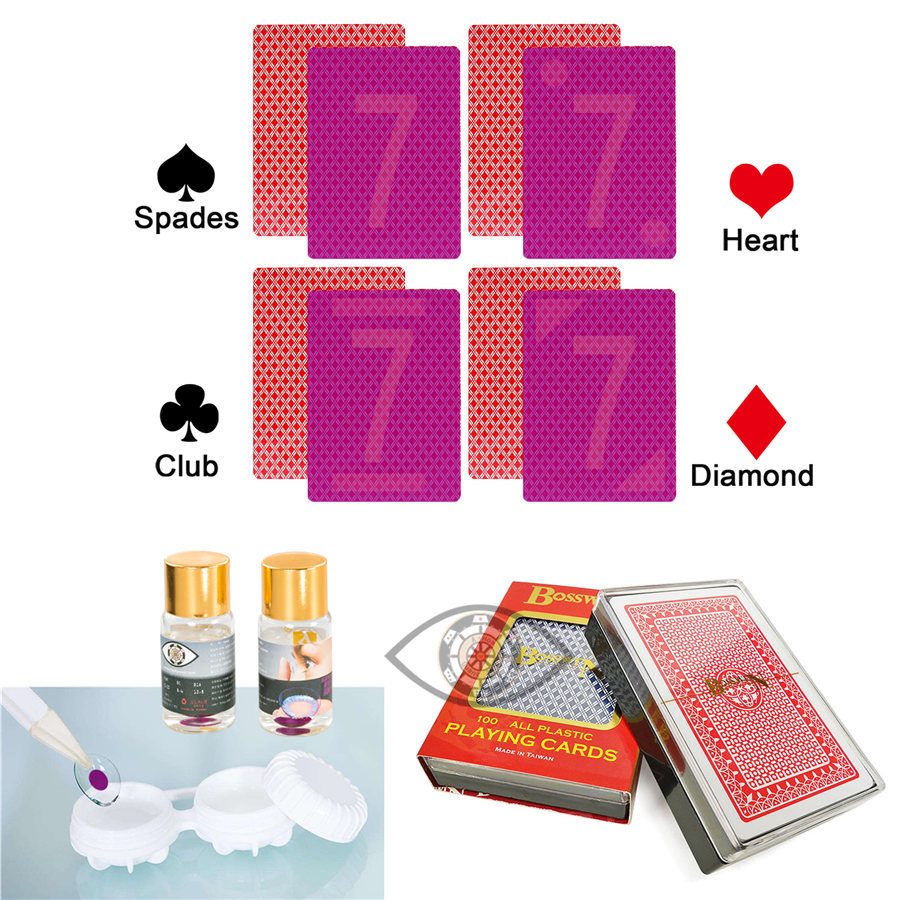 Invisible Poker Bosswin Playing Cards Plastic Poker Perspective Marked Cards Poker Cheat UV Contact Lenses Magic Poker Tricks