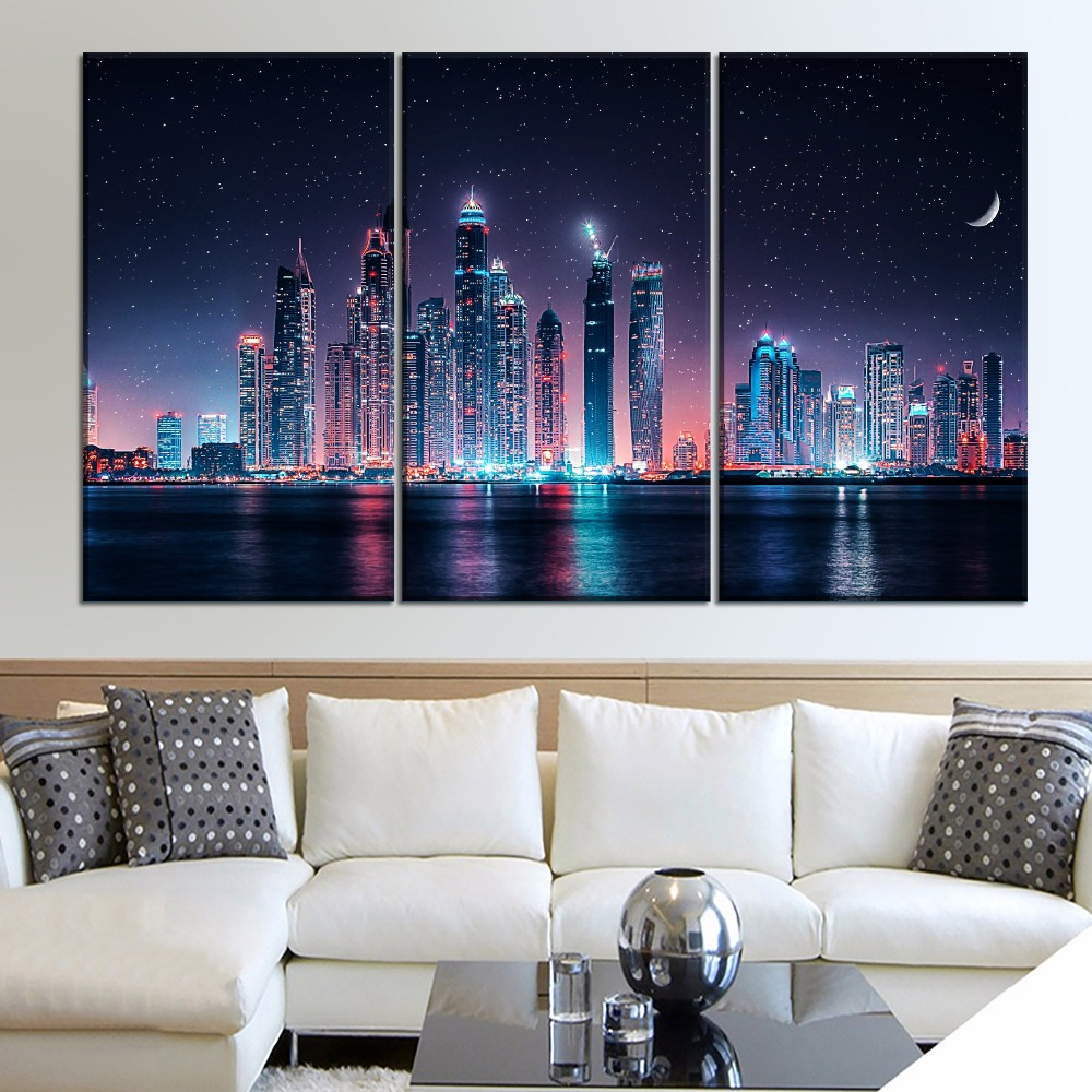 Dubai-Skyline-At-Night-Painting-1-Piece-Style-Canvas-Print-Type-Picture-Modern-Home-Decorative-Wall (2)