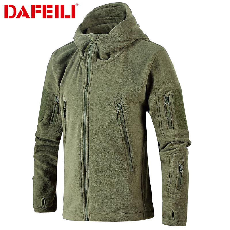 Military Tactical Fleece Jacket Men Us Army Polartec Windbreaker Clothes Male Multi Pockets Outerwear Hoodie Coat For Men