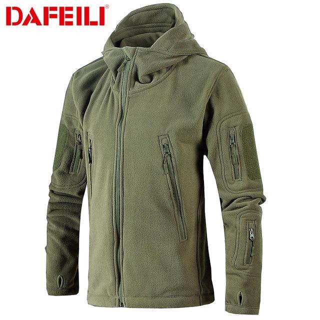 Military Tactical Fleece Jacket Men US Army Polartec Windbreaker Clothes Male Multi Pockets Outerwear Hoodie Coat For Men