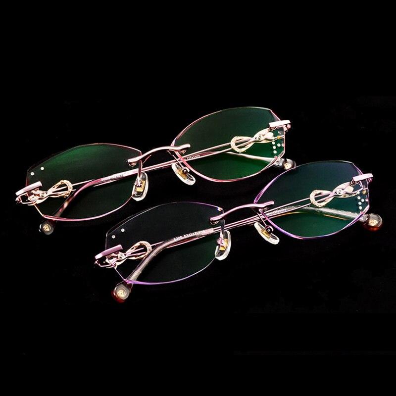 Fashion Luxury Diamond Trimmed Cutting Titanium Rimless Eyeglasses Women brand Optical reading Glasses Prescription Lady Q113 in Women 39 s Eyewear Frames from Apparel Accessories