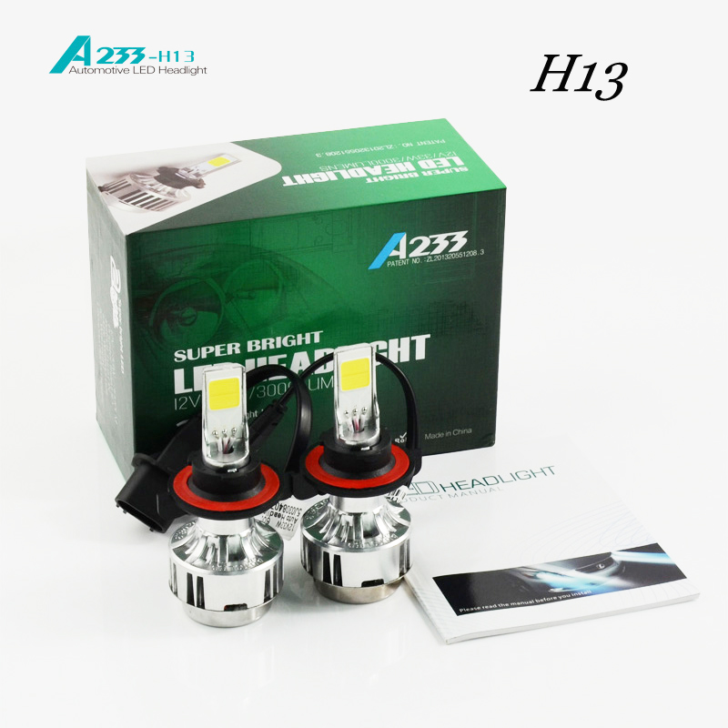 ФОТО 2016 Hot Sale New External Lights Car Headlight H13 H/l H4 9004/9007 Bulb Before Auto 66 W/ 6000lm Flagship Cars6000k / 4300k