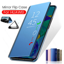 Mirror Smart Flip Case For Huawei P30 Pro Coque Cover Standing Cases For Huawei Mate 20 Pro P30 Lite X P Smart Plus 2019 Case(China)