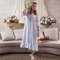 Ladies retro vintage nightgown palace sweet home dress summer spring loose princess long nightgown womens pure cotton lotus leaf