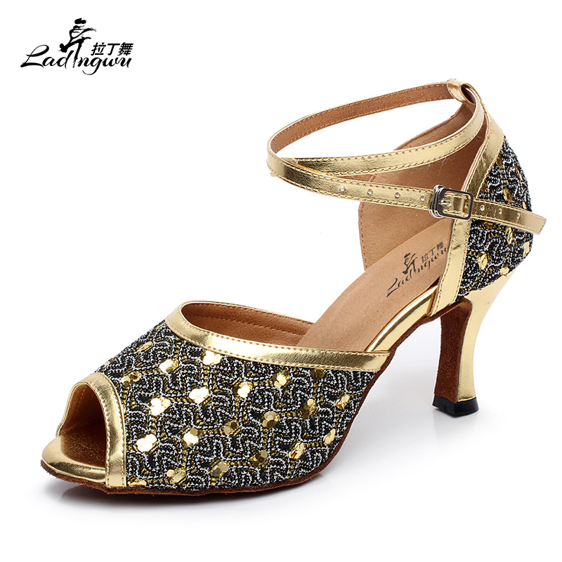 Ladingwu Grid Flash and PU Women's High Heels Latin Dance Shoes Golden/Silver Ballroom Salsa Dance Shoes Size 35 44