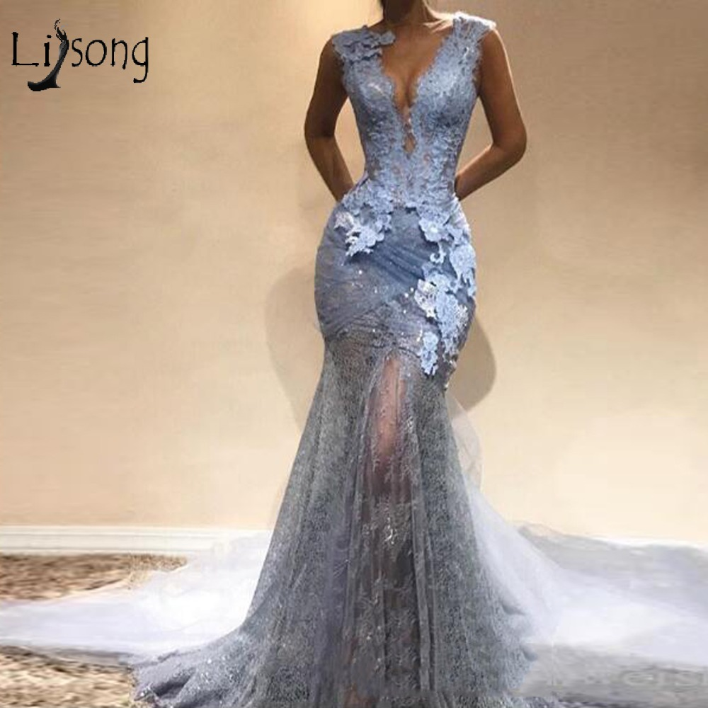 Abendkleider 2018 Dusty Blue Lace long Mermaid Prom Dresses Sexy Prom Gowns Formal Evening Party Dress