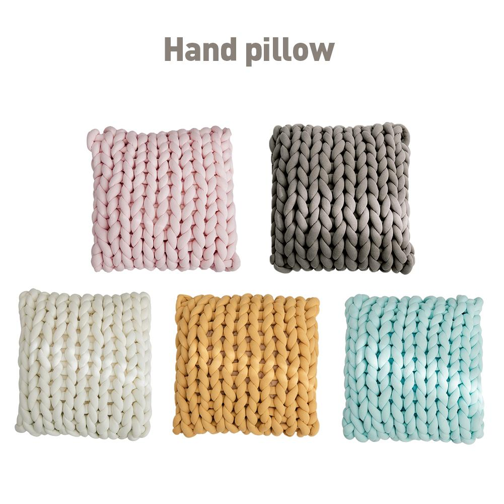 New Knitted Thick Pillow Hand-woven Square Cotton Cushion For Living Room Full Pillow Core For Bedroom TV Special Pillow(China)