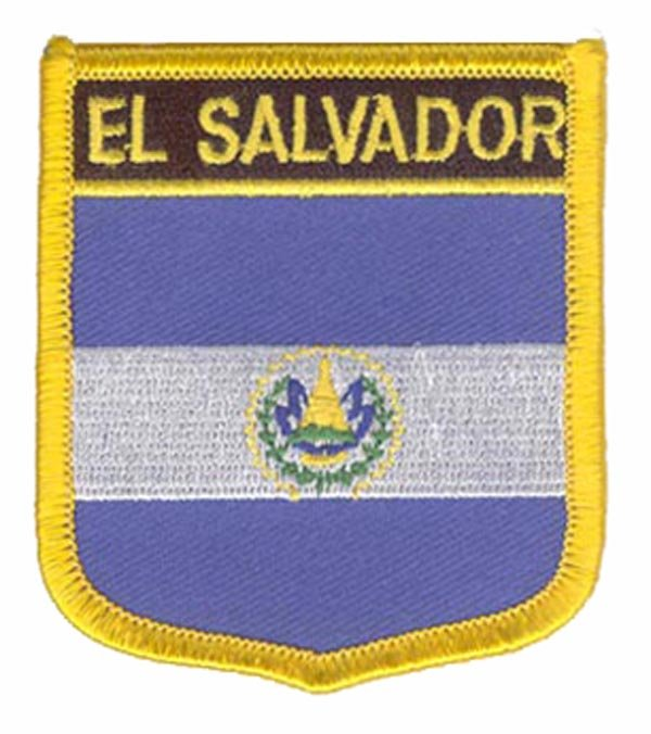 El Salvador Flag Patch Made by Twill with Merrow Border and Iron On Backing 100pcs/bag Accept Custom and MOQ50pcs free shipping