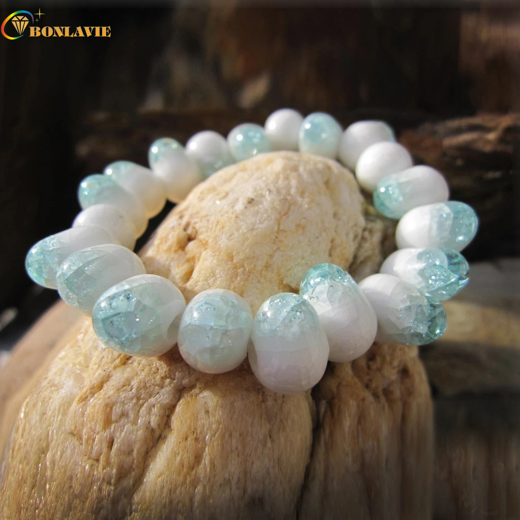 New Chinese Style Blue and White Porcelain Ceramic Beads Bracelets For Women Strand Stretch Friendship