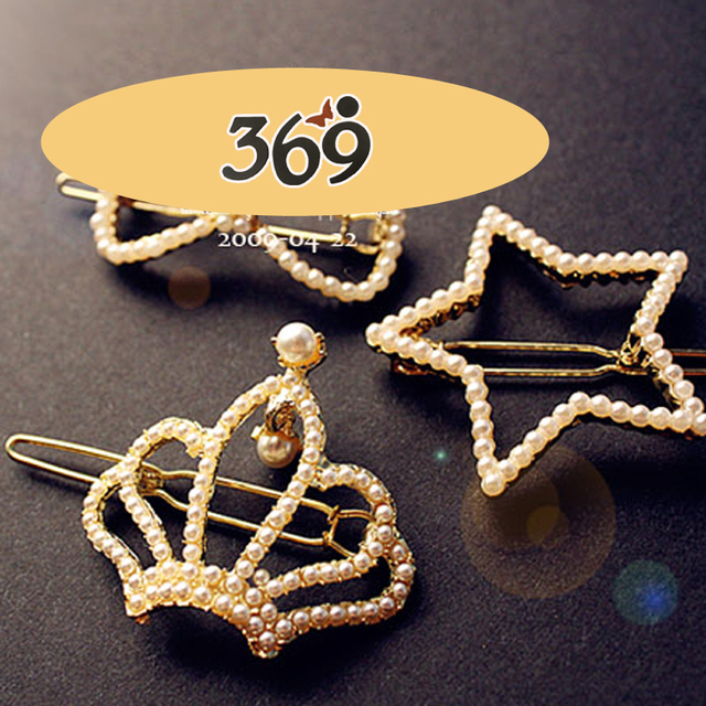 Hot sale 2013 the latest fashion delicate pearl bow crown five-pionted star hair clip
