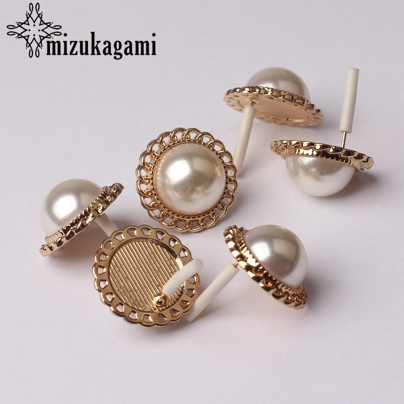 Imitation Pearls Round Lace Flowers Base Earrings Connector 20mm 6pcs/lot Jewelry Finding Earrings Making Accessories