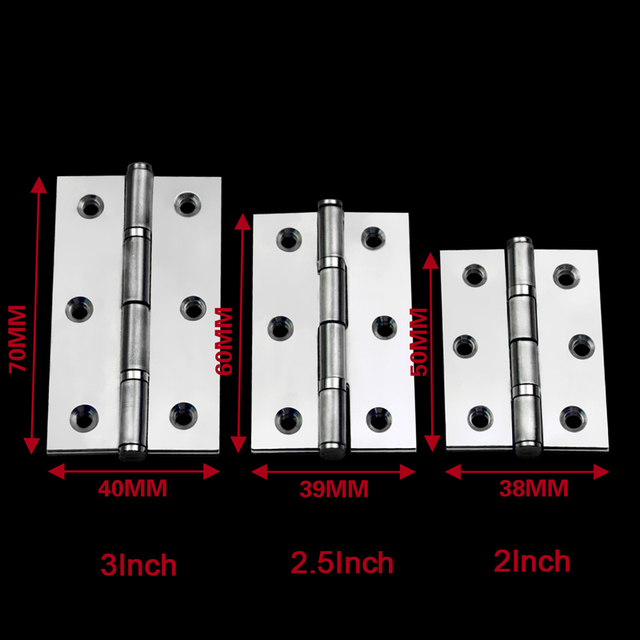 20PCS Stainless Steel Folding Furniture Hinges Ball Bearing Cupboard Drawer Cabinet Door Butt Hinges Smoothly & Mute 2/2.5/3Inch