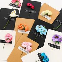 10 Pcs Lot Kraft Paper Flower Wedding Invitations Card Personalized Custom Free Envelope Seals Party Supplie