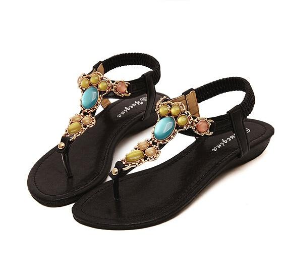 ca3b31d4eac0c5 Beautiful Feet Sandals Bohemia Ethnic Summer Sandal Shoes Gem Women Flip  Flops