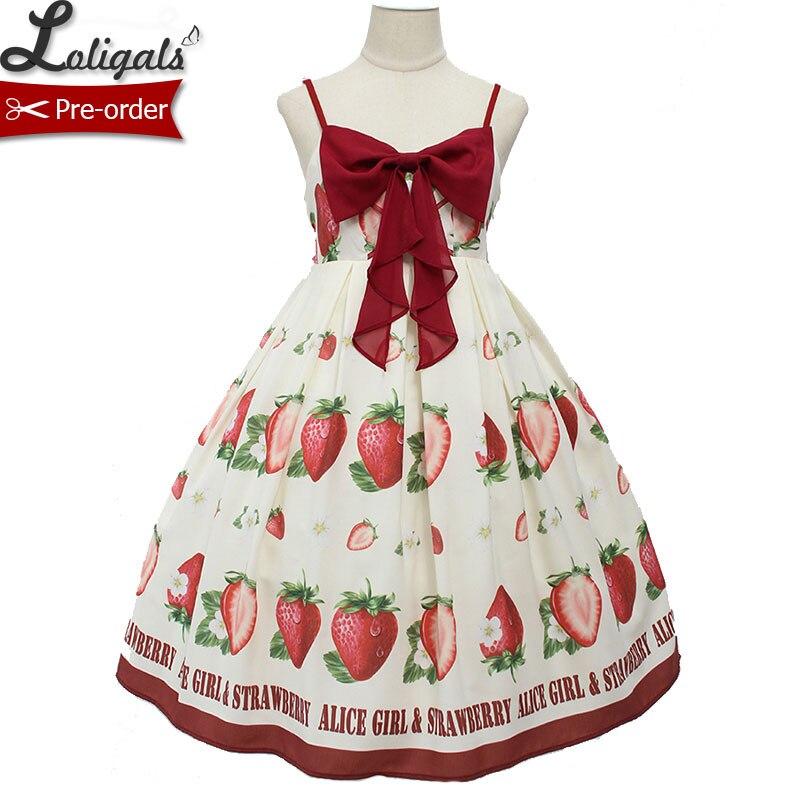 Doux fraise imprimé Lolita décontracté JSK robe d'été robe Midi par Alice fille pré-commande