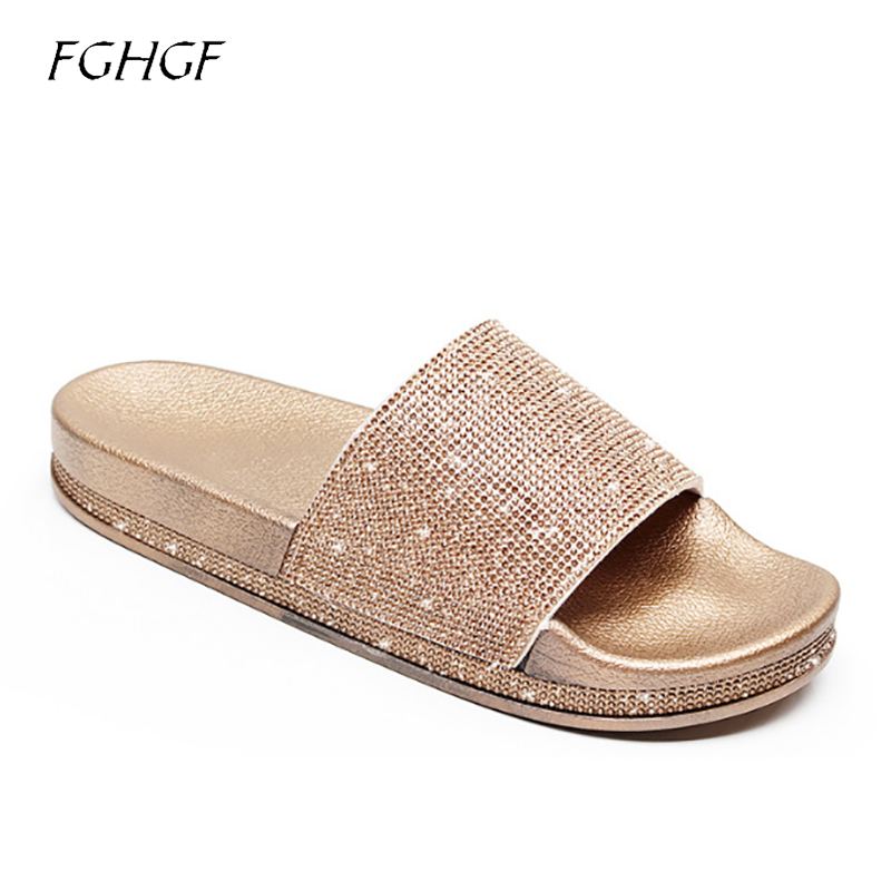 2018 New Platform Rose gold rhinestone flat sliders shoes comfortable stylish flat summer shiny sliver slipper shoes for women
