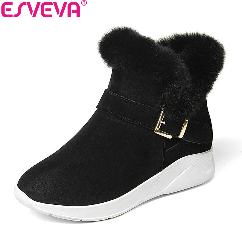 ESVEVA 2018 Women Boots Winter Warm Fur Zipper Snow Boots Med Heels Casual Ankle Boots Plush Fashion Ladies Boots Size 34-39