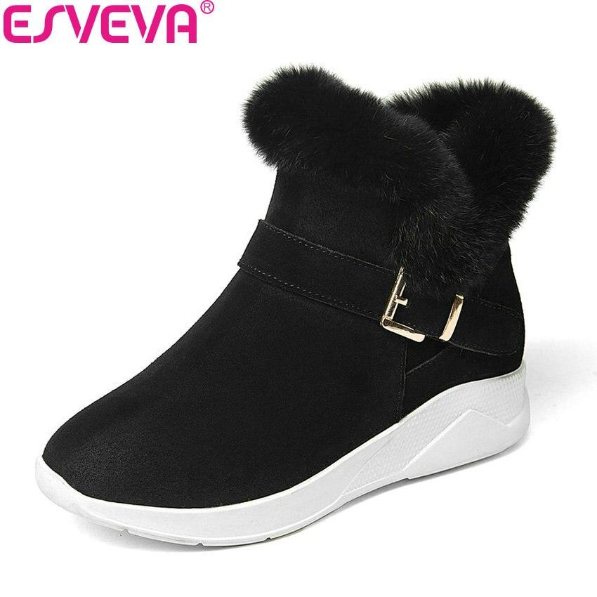ESVEVA 2018 femmes bottes hiver chaud fourrure Zipper neige bottes Med talons décontracté bottines en peluche mode dames bottes taille 34-39