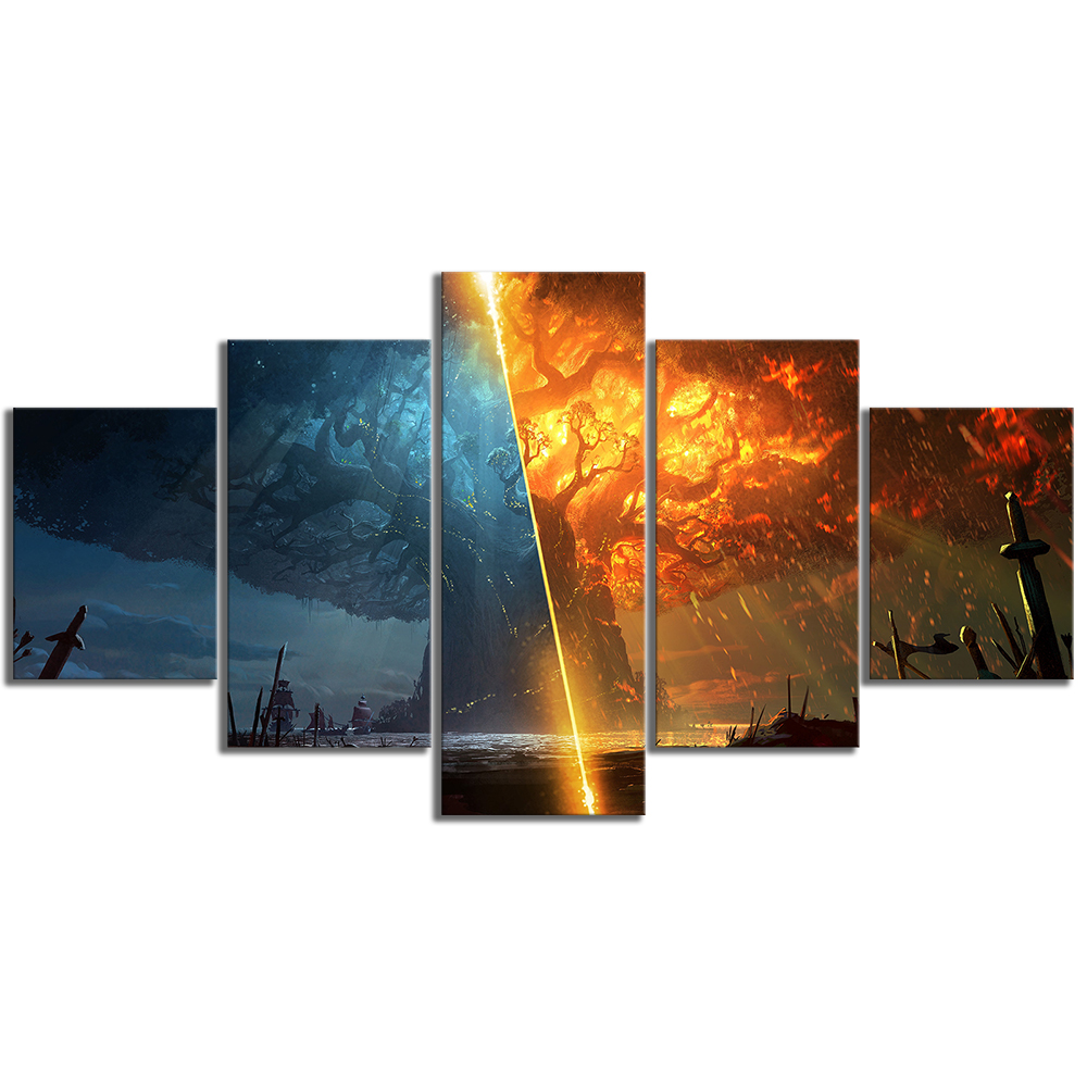5 Piece Teldrassil Burning World of Warcraft Battle for Azeroth Game Posters Canvas Painting Wall Art for Home Decor 3