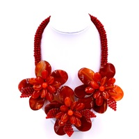 2017 New Top Fashion Trendy Chokers Necklaces Red Onyx sardonyx Agat Flower Wrap Necklace