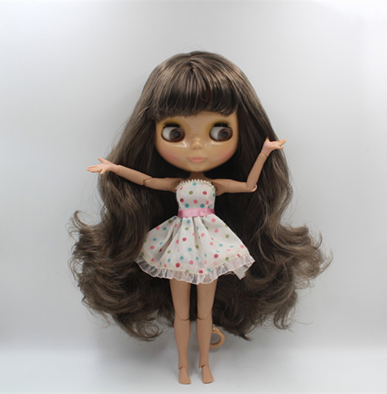 Free Shipping BJD joint RBL-414J DIY Nude Blyth doll birthday gift for girl 4 colour big eyes dolls with beautiful Hair cute toy free shipping transparent rbl 197t diy nude blyth doll birthday gift for girl 4 colour big eyes with beautiful hair cute toy