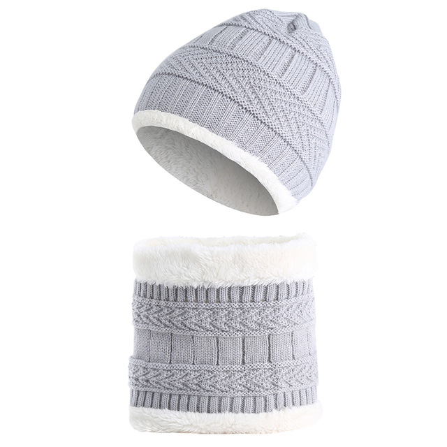 e5eeff2bd8f  Lakysilk Children Cute Beanies and Snood Set Solid Grey Hat For Girls Boys  Winter
