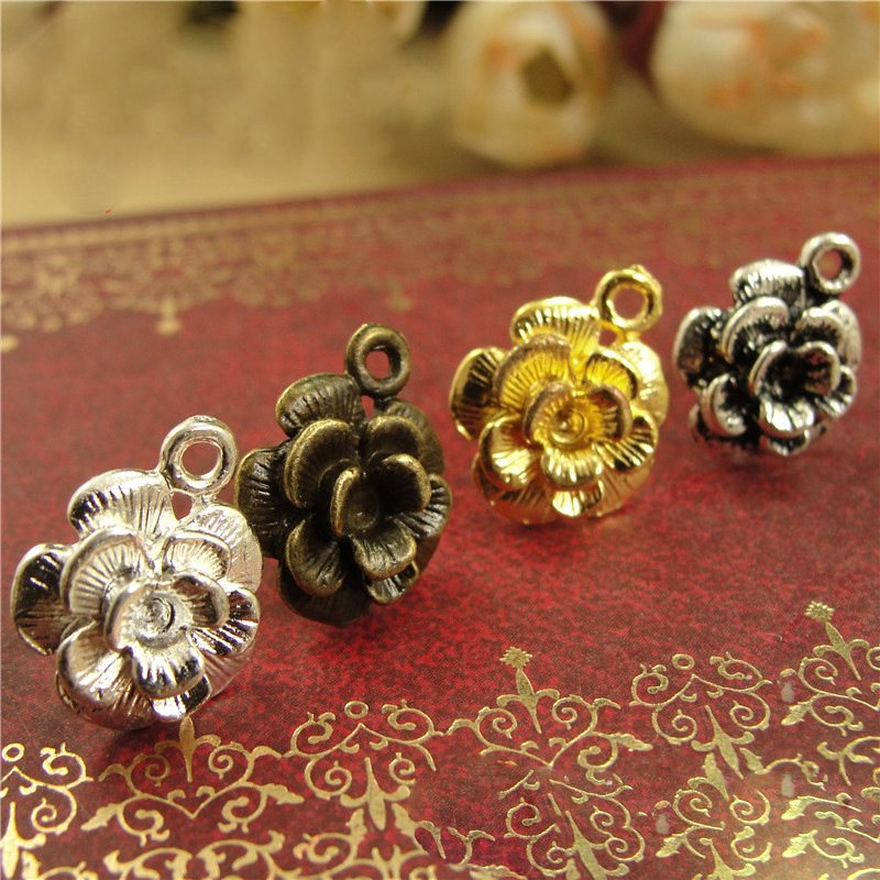 10Pcs 12mm Vintage Flower Stud Earrings Connector Accessories DIY Handmade Earring With Hooks Jewelry Crafts Findings Supplies