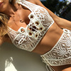 2017 Lace High Waist Hollow Out Swimsuit Bathing Suit Bandage Bikini Set Swimwear
