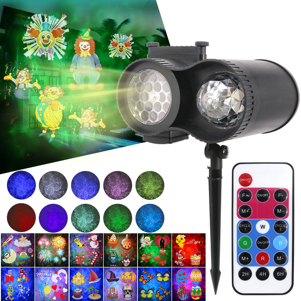 Projector Light 20 Theme Cards LED Projection Lamp Double Barrel Water Wave For Christmas Halloween Music Party Remote Control