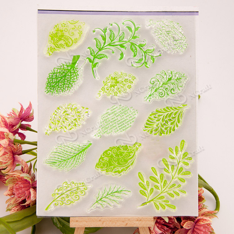 Green tree leaf Scrapbook DIY photo cards account rubber stamp clear stamp transparent handwork art seal school Kid gift scrapbook diy photo cards account rubber stamp clear stamp finished transparent chapter wall decoration 15 18