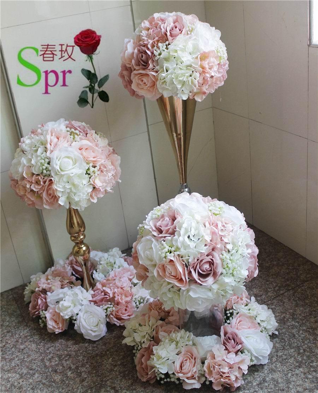 SPR weselne centrum kula z kwiatów ślub ołowiu drogowego sztuczne flore centralny ślub tło dekoracja kwiatowa w Sztuczne i zasuszone kwiaty od Dom i ogród na  Grupa 2