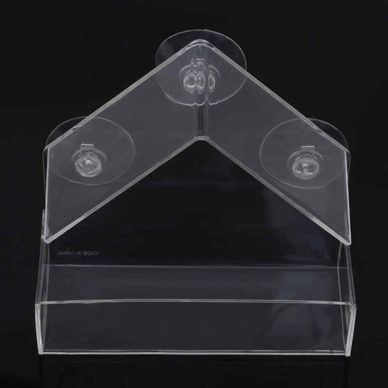 New Clear Glass Window Viewing Bird Feeder Hotel Table Seed Peanut Hanging Suction Alimentador Adsorption House Type Bird Feeder