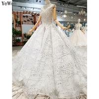 2019 New Write Wedding Dresses Sleeveless Hining jewel Robe de mariee Gorgeous Formal Vestido De Noiva Plus size YM20018