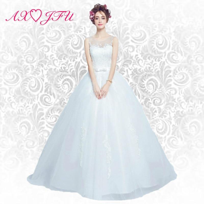 AXJFU Sexig Lace Flower Bröllopsklänning Prinsessan Bride perspektiv Snörning Bröllopsklänning Ny sommar 612 S