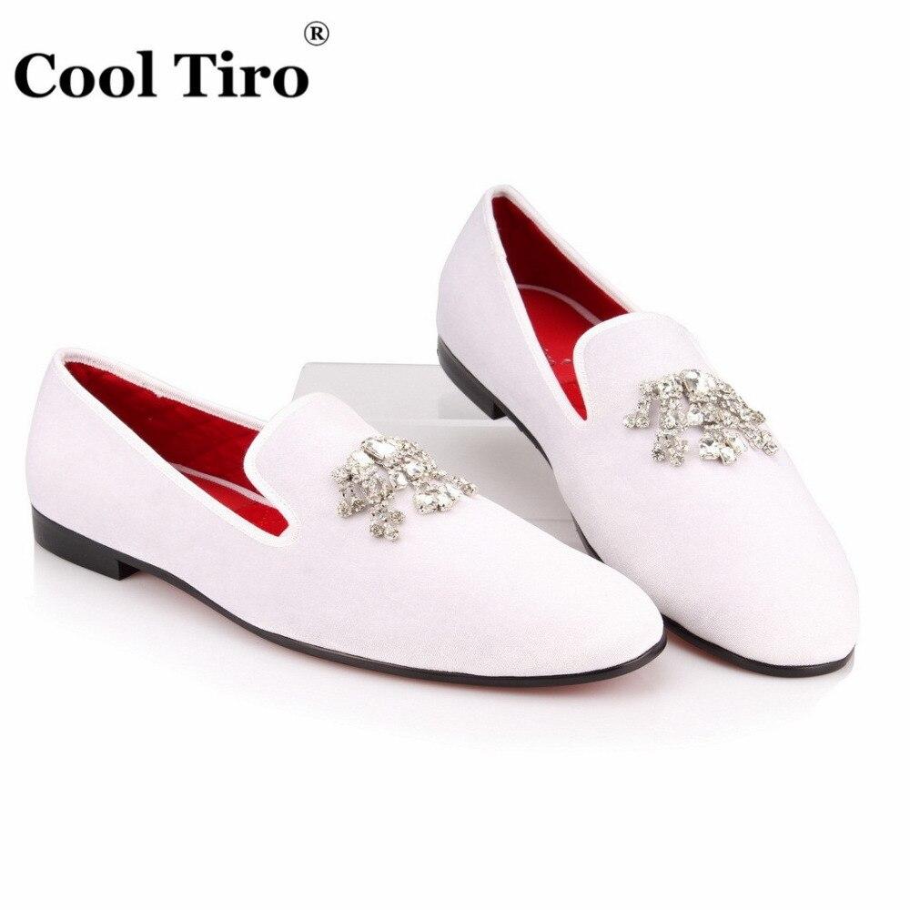 Crystal Tassel White velvet Loafers Men Flats (6)
